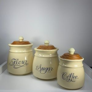 Vintage kitchen canisters ~ flour, coffee & sugar